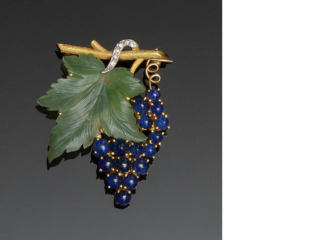 A gem set fruiting vine brooch