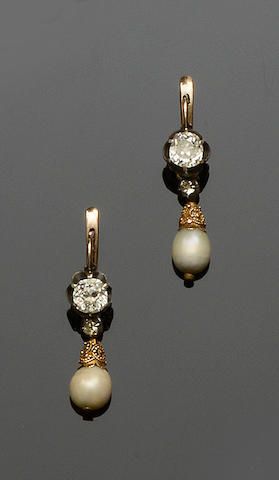A pair of diamond and pearl earpendants