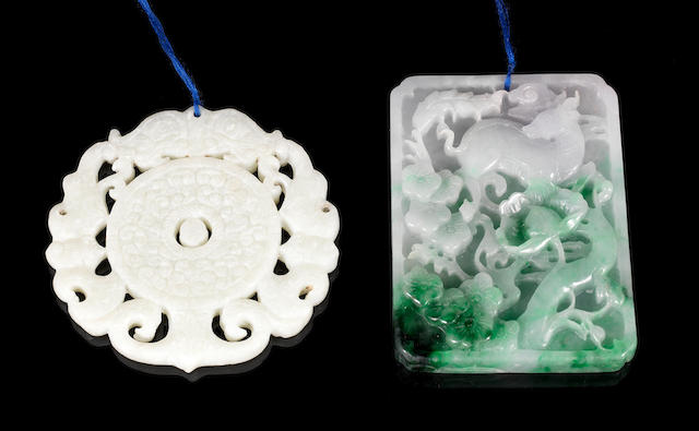 Two jade, or other, pendants