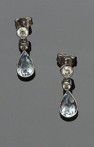 A pair of diamond and aquamarine earpendants