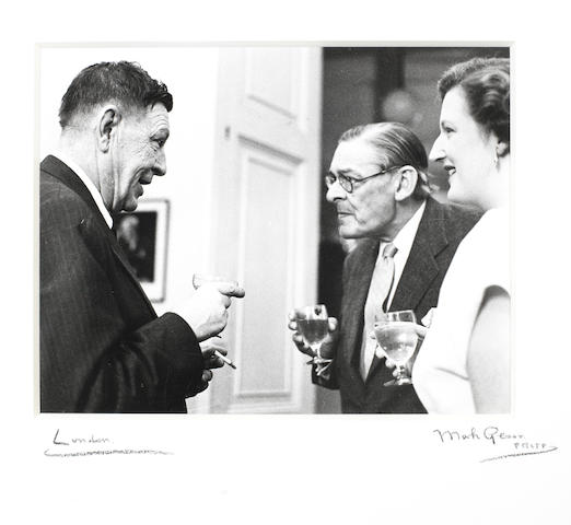 ELIOT, THOMAS STEARNES (1888-1965, American-born poet), PORTRAIT OF T.S. ELIOT, W.H. AUDEN AND VALERIE ELIOT (d. 2012) BY MARK GERSON (b. 1921), Faber's, 23 June 1960