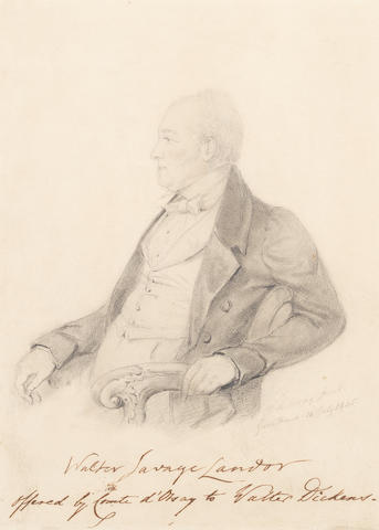 LANDOR, WALTER SAVAGE (1775-1864) PORTRAIT BY ALFRED COUNT D'ORSAY, SIGNED BY THE ARTIST AND THE SITTER, 1845