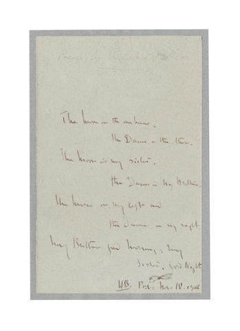 BELLOC, HILAIRE (1870-1953) AUTOGRAPH MANUSCRIPT OF ONE OF HIS BEST-KNOWN POEMS 'THE EARLY MORNING', 1905