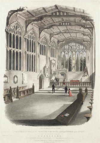 [SHAKESPEARE, WILLIAM (1564-1616)] HANDSOME GOTHIC OAK DESK MADE FROM TIMBER REMOVED FROM STRATFORD-ON-AVON CHURCH, [c. 1840]; HAND-TINTED LITHOGRAPH OF THE CHANCEL OF STRATFORD CHURCH, not dated [but mid nineteenth century - 1840 and noted as such when sold by Christopher Wood at Malletts] (2)
