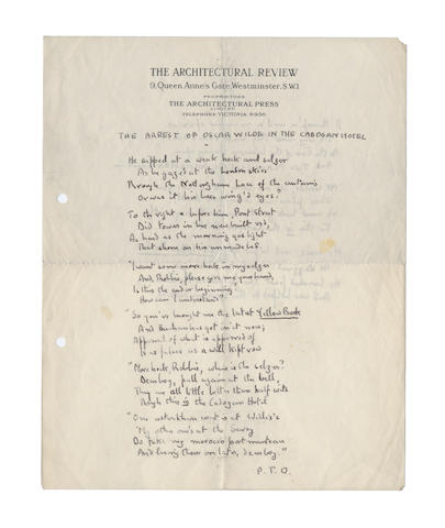 BETJEMAN, JOHN (1906-1984) AUTOGRAPH MANUSCRIPT OF HIS CELEBRATED POEM 'THE ARREST OF OSCAR WILDE AT THE CADOGAN HOTEL', [1932/33]