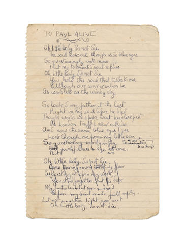 BETJEMAN, JOHN (1906-1984) TWO AUTOGRAPH DRAFTS OF HIS POIGNANT POEM 'LITTLE CHILD ILL', ENTITLED HEREIN 'TO PAUL ALIVE', [c.1945]