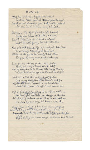 BETJEMAN, JOHN (1906-1984) AUTOGRAPH REVISED MANUSCRIPT OF HIS NOSTALGIC POEM 'EUNICE'