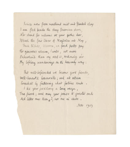 BRIDGES, ROBERT (1844-1930) AUTOGRAPH MANUSCRIPT OF HIS SONNET [TO THE PRESIDENT OF MAGDALEN COLLEGE, 1903