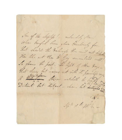 BYRON, GEORGE GORDON (1788-1824) AUTOGRAPH REVISED MANUSCRIPT OF HIS POEM 'SUN OF THE SLEEPLESS', signed with his Greek monogram and dated 'Sept. 8th 1814'