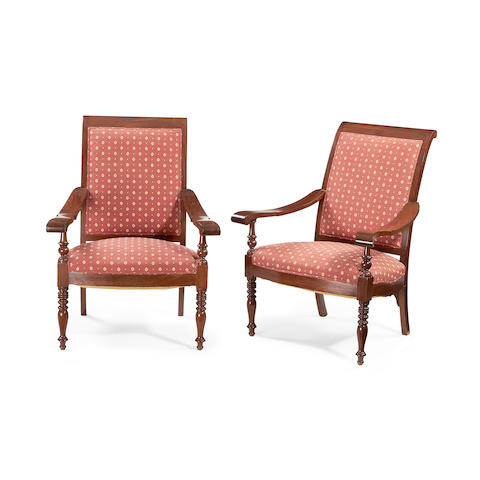 A pair of Victorian mahogany planters' armchairs