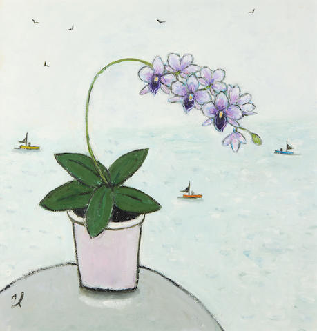 Joan Gillchrest (British, 1918-2008) Orchid with Fishing Vessels Beyond
