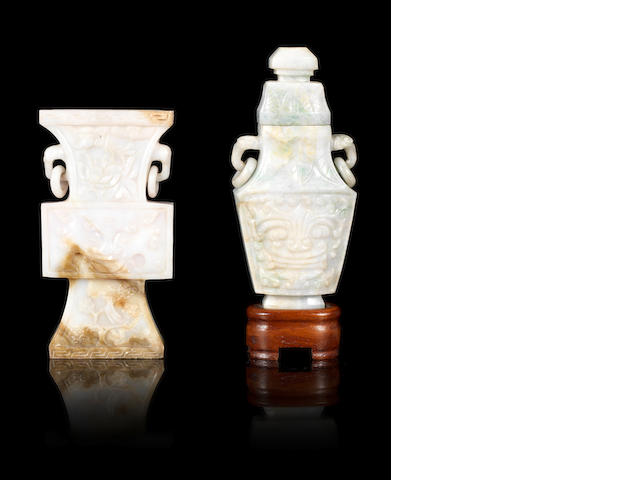 Two jadeite, or other stone, archaistic vases