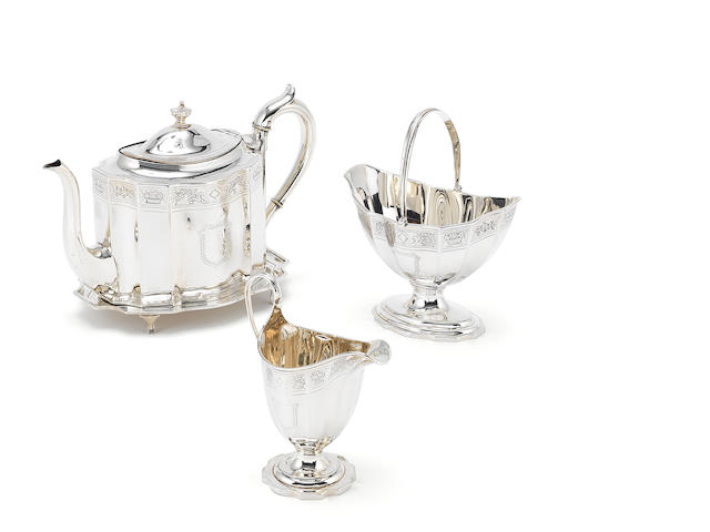 tea pot and stand, creamer and sugar basket