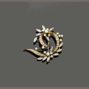 An 18ct gold diamond set brooch