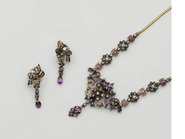 An amethyst and diamond necklace and earring suite