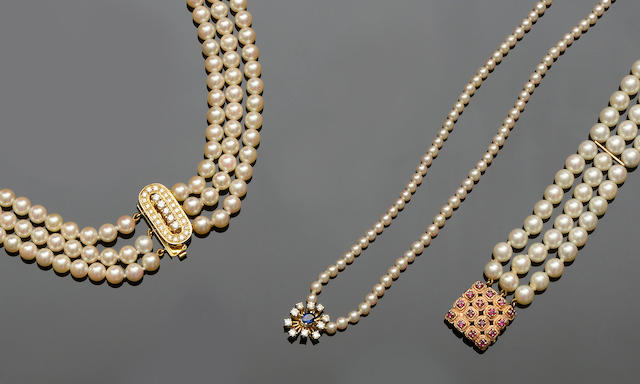 Two cultured pearl and diamond necklaces and a cultured pearl and ruby bracelet (3)