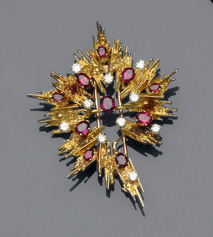 A ruby and diamond brooch and a ruby and diamond set pendant on chain (2)