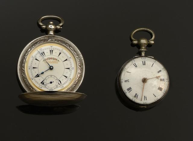 A George III fusée verge silver cased pocket watch(3)
