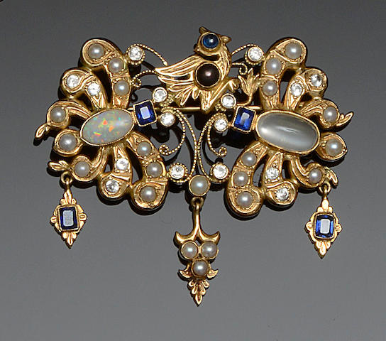 A vari gem-set brooch
