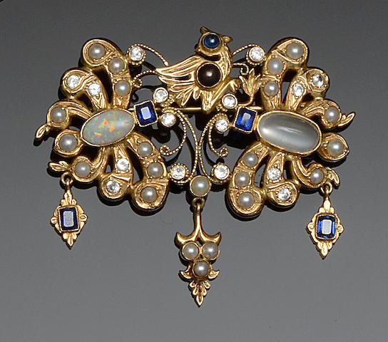 A vari gem-set brooch