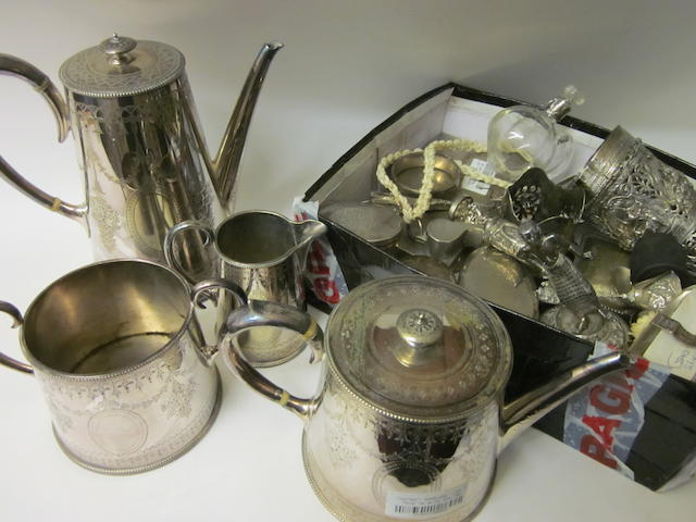 An electroplated four piece tea service, by Martin Hall and Co.,   (Qty)