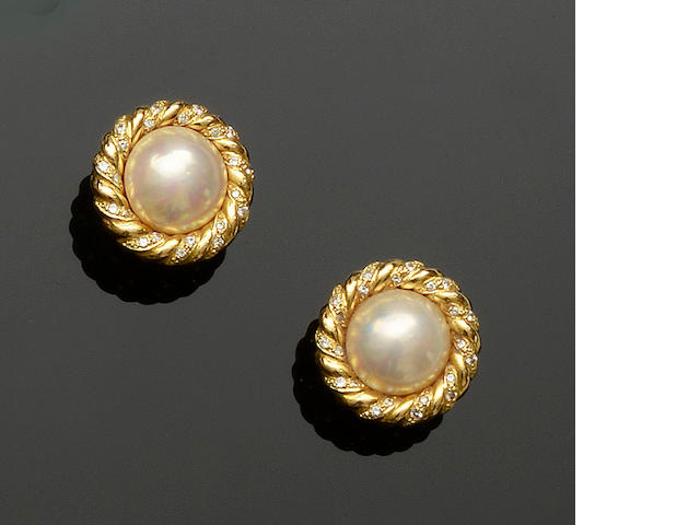 A pair of 18ct gold  mabé pearl and diamond earrings