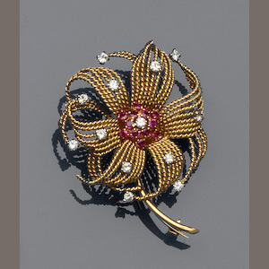A ruby and diamond floral spray brooch