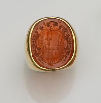 A cornelian seal ring