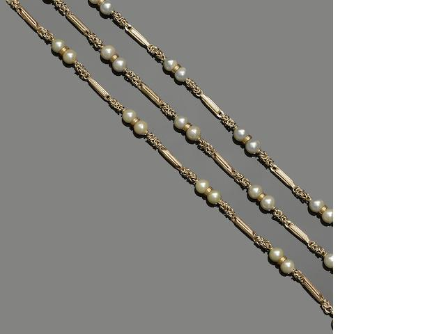 A 9ct gold and cultured pearl necklace and bracelet suite (2)
