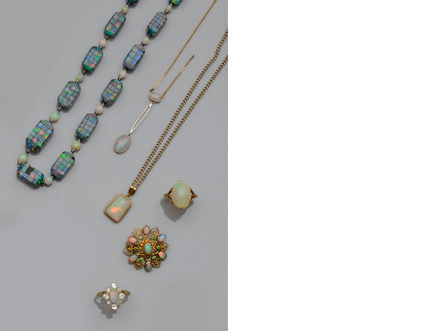 A collection of opal set jewellery (6)