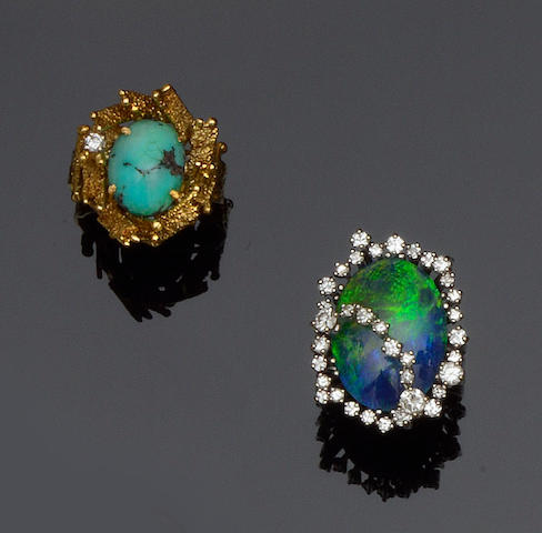 An opal triplet and diamond ring and a turquoise and diamond ring (2)