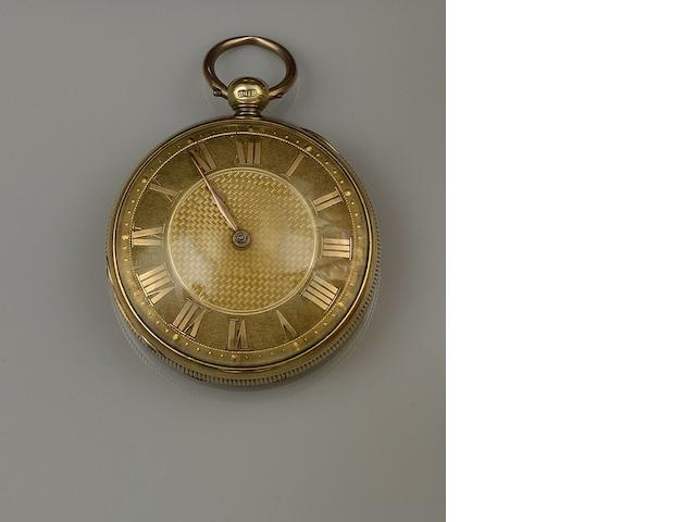 A George IV 18ct gold open face pocket watch and an Albert chain(2)