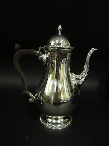 A silver coffee pot Birmingham 1973