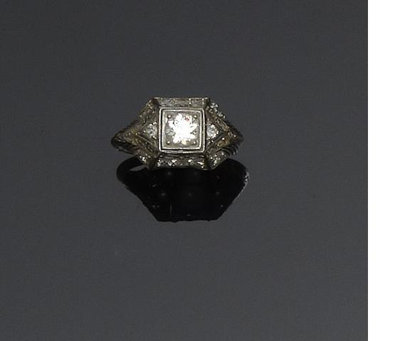 A diamond panel ring