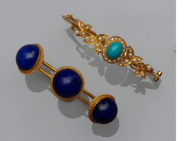 A Victorian lapis lazuli bangle and a turquoise and seed pearl bangle  (2)