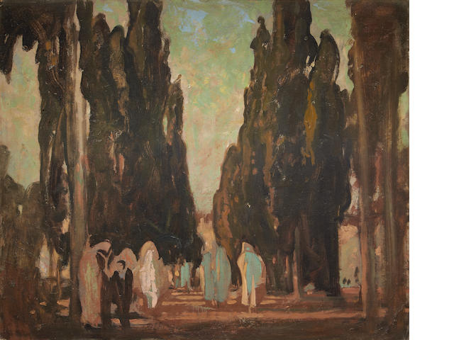 Sir Frank Brangwyn, R.A. (British, 1867-1956) An Eastern cyprus-lined lane