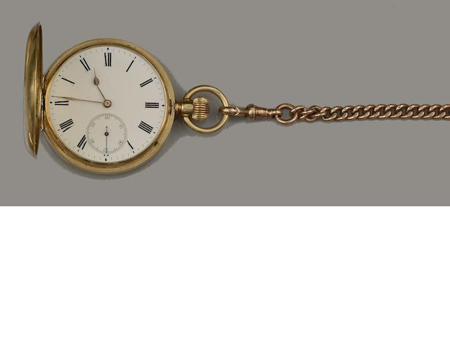 An 18ct gold pocket watch and a 9ct gold Albert chain