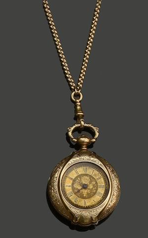 A late Victorian fob watch and long chain (2)