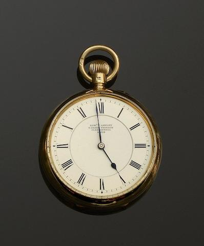 Edward Ashley, Clerkenwell, London: An 18ct gold open faced pocket watch