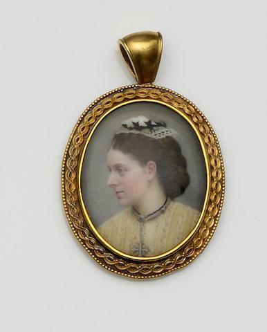 A Victorian portrait pendant