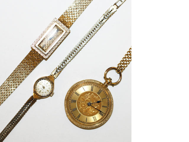An open face pocket watch and two wristwatches,(3)