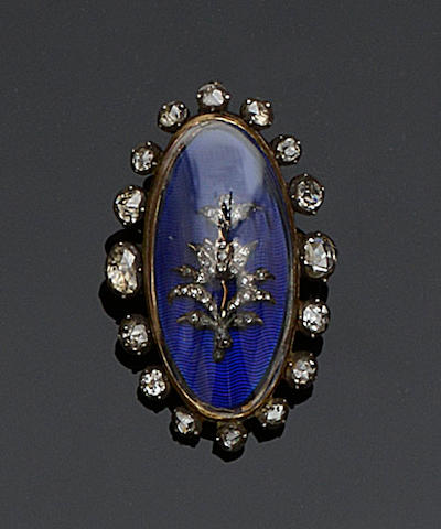 A Georgian diamond and enamel panel