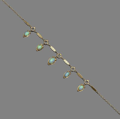 An opal fringe necklace