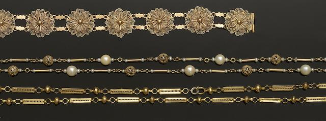 A cultured pearl necklace, a fancy-link chain and two bracelets (4)