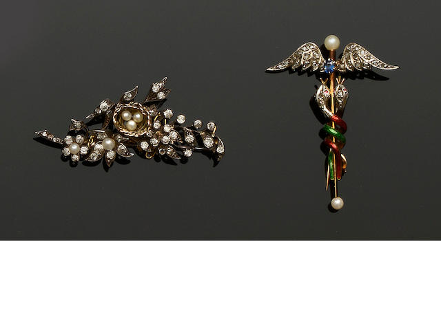 Two late 19th century gem set brooches (2)