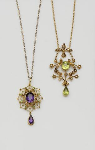 Two gem set pendants and a diamond ring (3)