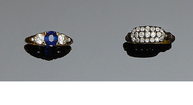 A sapphire and diamond three stone ring and a diamond ring (2)