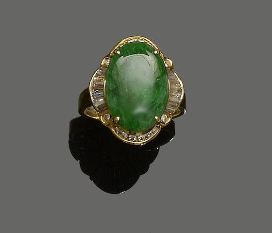 A jade and diamond dress ring