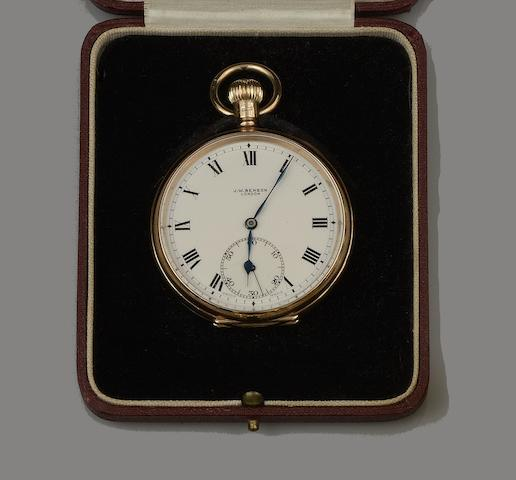 J W Benson: A 9ct open face keyless wind pocket watch