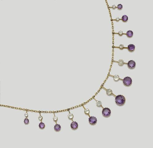 An amethyst and aquamarine fringe necklace